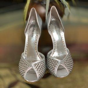 Gianni Bini Faux Leather Mettalic Silver Lucca